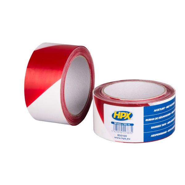 B50100 - Barrier tape - white red - 50mm x 100m - 5425014223835