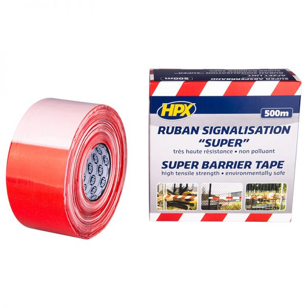 BS80100 - Super barrier tape - white red - 80mm x 500m - 5407004561455