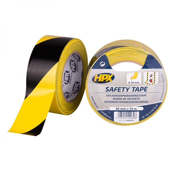 HW5033 - Safety tape - Security marking tape - yellow black - 50mm x 33m - 5425014220308
