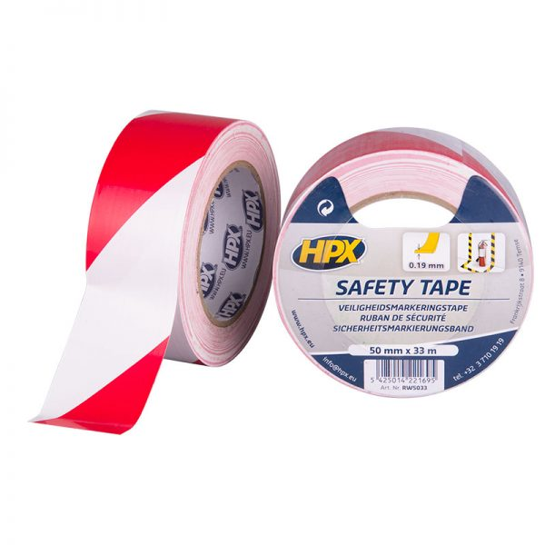 RW5033 - Safety tape - Security marking tape - white red - 50mm x 33m - 5425014221695