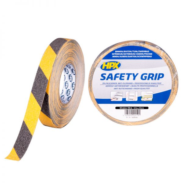 SY2518 - Safety grip - Anti - slip tape - black yellow - 25mm x 18m - 5425014224191