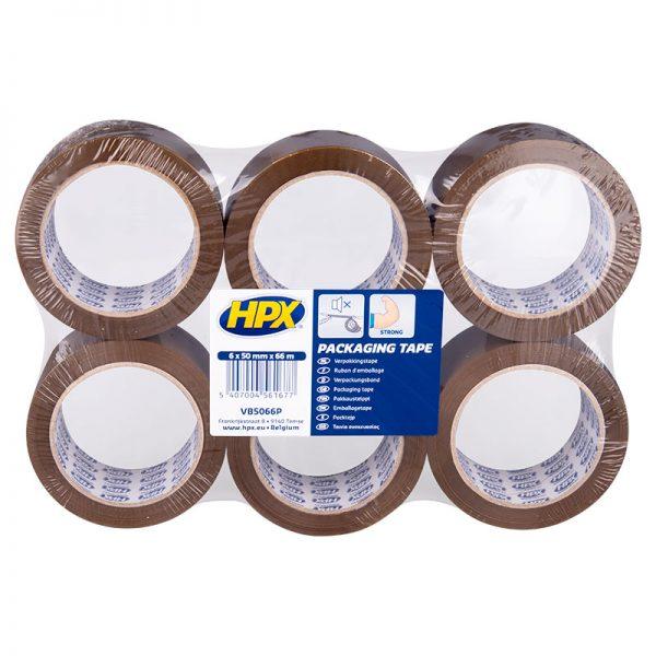 VB5066P - Packaging tape - Flatpack 6 rolls - brown - 50mm x 66m - 5407004561677