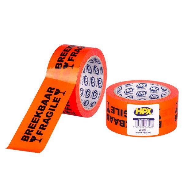 VF5066 - Packaging tape - Breekbaar fragile - orange black - 50 mm x 66 m - 5407004561288